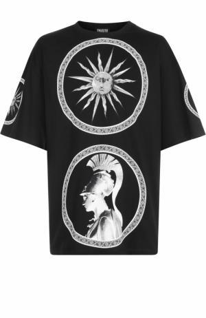 Хлопковая футболка с принтом Fausto Puglisi. Цвет: черный