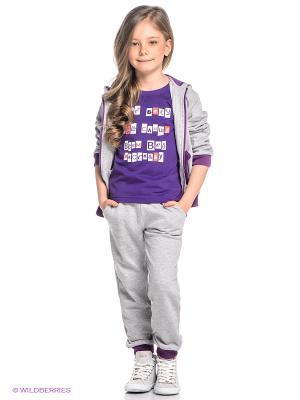 Спортивный костюм Oldos. Цвет: серый меланж, фиолетовый