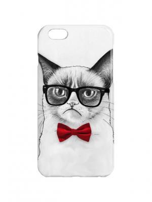 Чехол для iPhone 6 Недовольный кот в красной бабочке Арт. IP6-312 Chocopony. Цвет: белый, красный