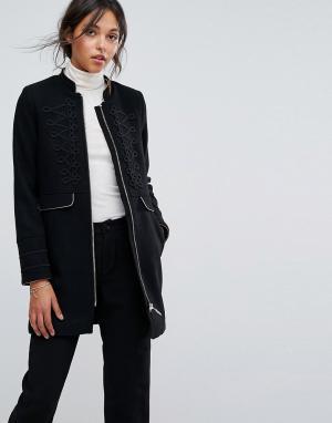 Esprit Удлиненное пальто в стиле милитари. Цвет: черный
