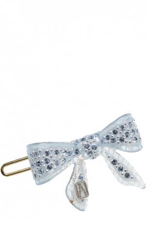 Заколка в виде банта с кристаллами Swarovski Alexandre De Paris. Цвет: голубой