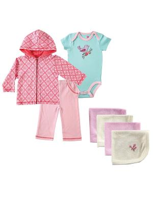 Комплект Боди к/р , Жакет, Штанишки + Салфетки для купания Hudson Baby. Цвет: розовый