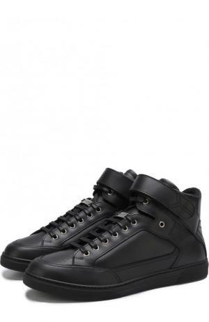 Высокие кожаные кеды на шнуровке Saint Laurent. Цвет: черный