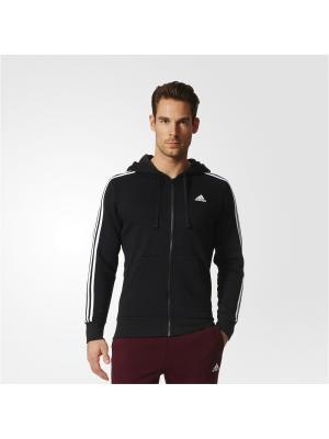 Толстовка ESS 3S FZ B  BLACK/WHITE Adidas. Цвет: черный