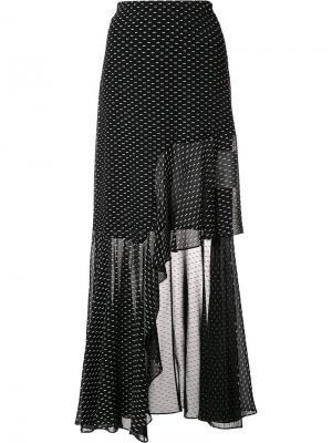 Длинная асимметричная юбка с оборкой Rosetta Getty. Цвет: чёрный