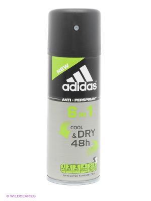 Дезодорант антиперcпирант спрей adidas 6in1 Cool&Dry 6 в 1 для мужчин 150 мл. Цвет: серый