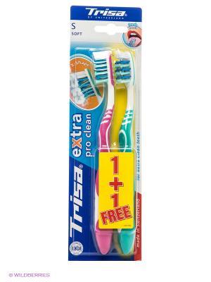 Зубная щетка двойная Extra DUO TRISA. Цвет: бирюзовый, фуксия