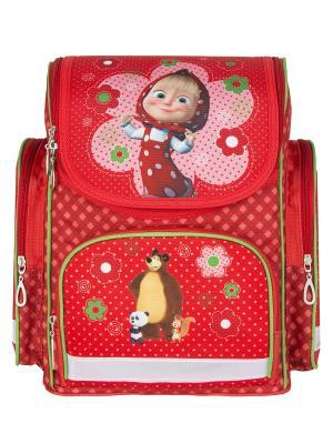 Рюкзак ортопедический cредний Маша и Медведь классика. Цвет: красный, розовый