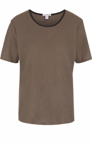 Хлопковая футболка с контрастной отделкой выреза James Perse. Цвет: хаки