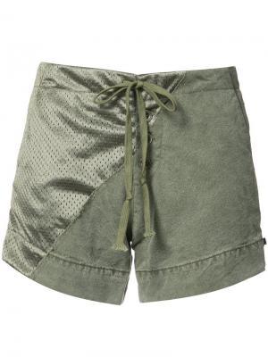 Хлопковые шорты с атласной панелью Greg Lauren. Цвет: зелёный