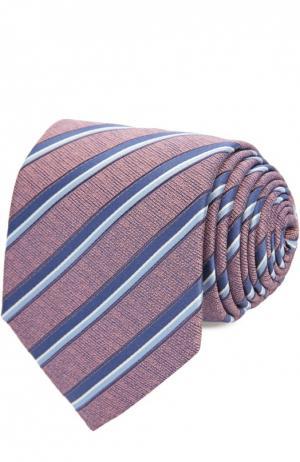Шелковый галстук в пастельную полоску Ermenegildo Zegna. Цвет: розовый