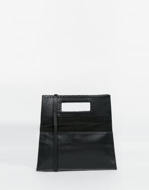 Becksondergaard Кожаная стеганая сумка через плечо с откидным клапаном. Цвет: черный