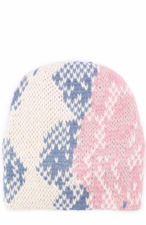 Вязаная шапка из шерсти Tak.Ori. Цвет: белый