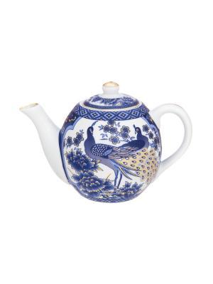Чайник Павлин синий Elan Gallery. Цвет: синий