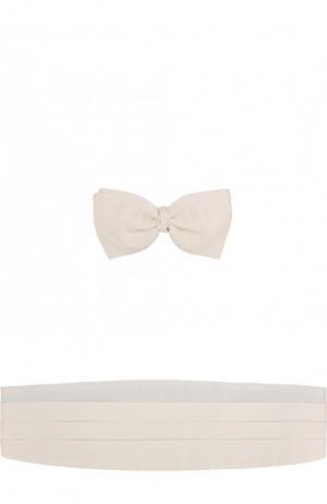 Комплект из шелкового галстука-бабочки и камербанда Ermenegildo Zegna. Цвет: кремовый