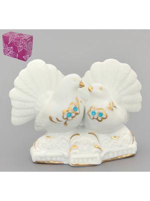 Фигурка декоративная Голубь и голубка Elan Gallery. Цвет: белый, золотистый