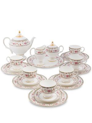 Чайный сервиз на 6 перс. Милано-Мариттима (Milano Marittima Pavone) Pavone. Цвет: белый, золотистый, розовый
