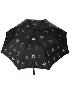 Зонт с цветочным принтом Alexander McQueen. Цвет: чёрный