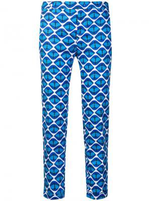 Узкие брюки с принтом Fay. Цвет: синий