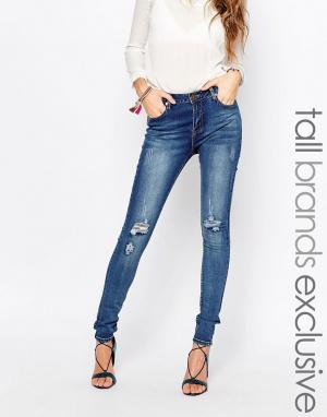 Liquor & Poker Tall Супероблегающие джинсы с классической талией. Цвет: синий