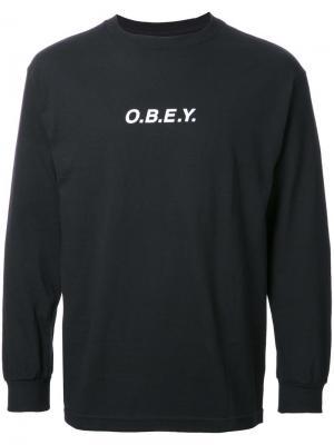 Толстовка с принтом-логотипом Obey. Цвет: чёрный