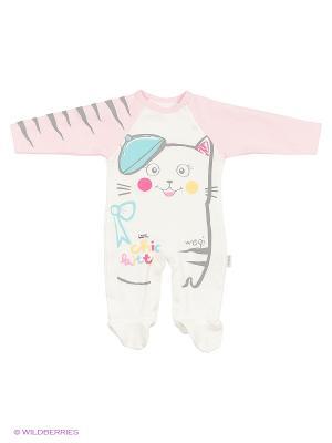 Комбинезон для малышей WO&GO. Цвет: молочный, бледно-розовый