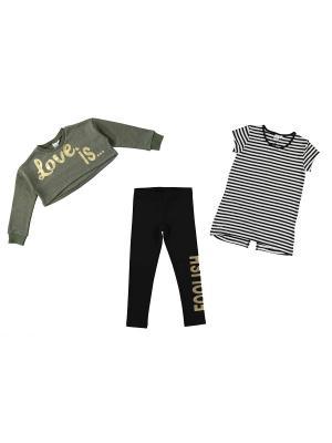 Комплект (жакет/брюки) IDO. Цвет: черный, хаки