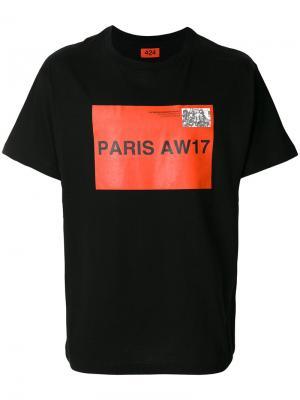 Футболка Paris AW17 424 Fairfax. Цвет: чёрный