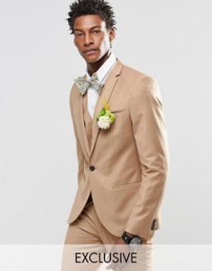 Noak Фланелевый пиджак суперзауженного кроя на свадьбу. Цвет: рыжий