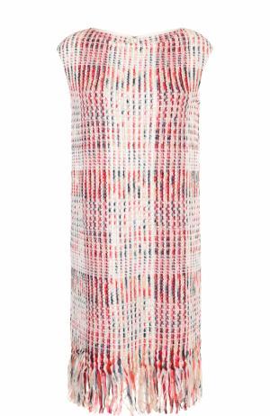 Буклированное платье-миди с бахромой St. John. Цвет: розовый