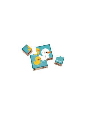 Кубики PLAN TOYS. Цвет: бежевый, голубой