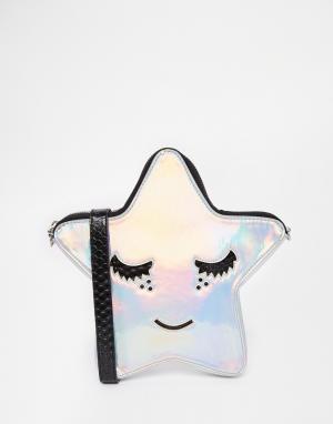Skinnydip Сумка через плечо в форме звезды. Цвет: серебряный