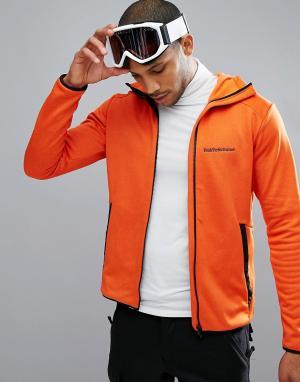 Peak Performance Худи из флиса оранжевого цвета на молнии. Цвет: оранжевый