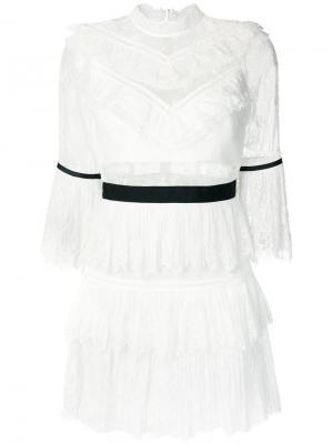 Кружевное мини платье Self-Portrait. Цвет: белый