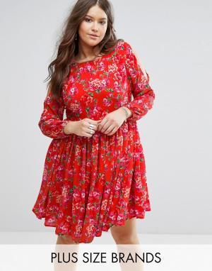 Koko Платье с открытыми плечами и цветочным принтом Plus. Цвет: оранжевый