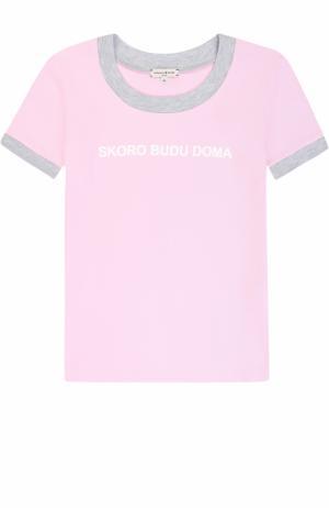 Хлопковая футболка с принтом и контрастной отделкой Natasha Zinko. Цвет: розовый