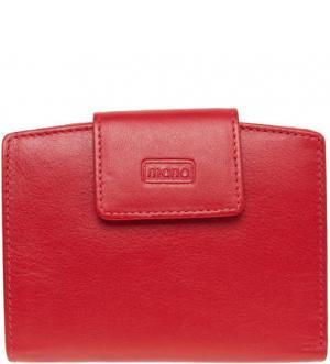 Кожаный кошелек с застежкой на кнопку Mano. Цвет: сиреневый
