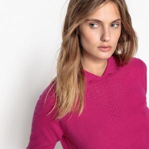 Пуловер из кашемира с воротником-поло MADEMOISELLE R. Цвет: фиалковый,фуксия