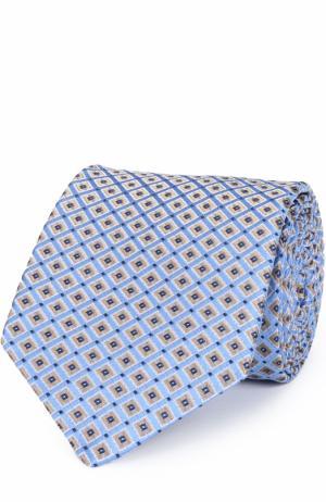 Шелковый галстук с узором Eton. Цвет: голубой