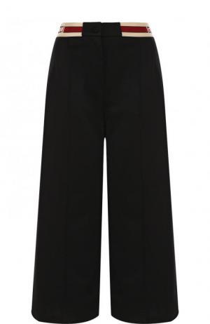 Укороченные брюки с контрастным поясом Gucci. Цвет: черный