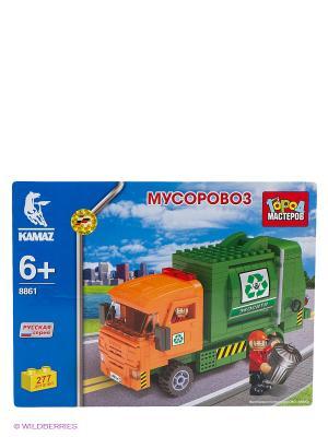 Конструктор Камаз мусоровоз Город мастеров. Цвет: зеленый, оранжевый, синий