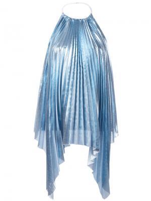 Плиссированная блузка с отделкой металлик Ssheena. Цвет: синий