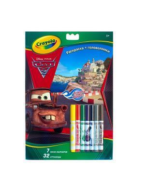 Раскраска+головоломки Тачки Crayola. Цвет: желтый, красный, темно-красный