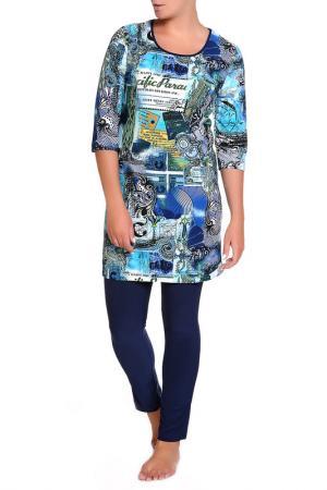 Платье домашнее, леггинсы LAVELLE. Цвет: синий