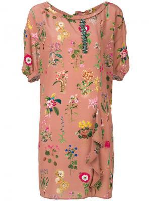 Платье шифт с цветочным украшением Nº21. Цвет: коричневый