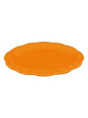 Блюдо Оранжевое с узором Elan Gallery. Цвет: оранжевый