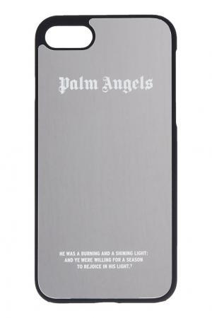 Зеркальный чехол для iPhone 7 серебряный Palm Angels. Цвет: серебряный