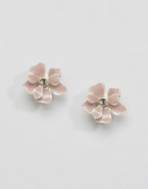 Pilgrim Серьги-гвоздики цветочки. Цвет: розовый