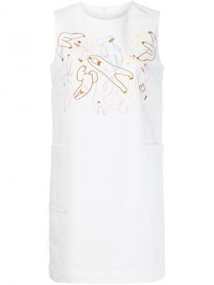 Платье с вышивкой Minjukim. Цвет: белый