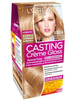 Стойкая краска-уход для волос Casting Creme Gloss без аммиака,оттенок 8304, Карамельный капучино L'Oreal Paris. Цвет: светло-бежевый